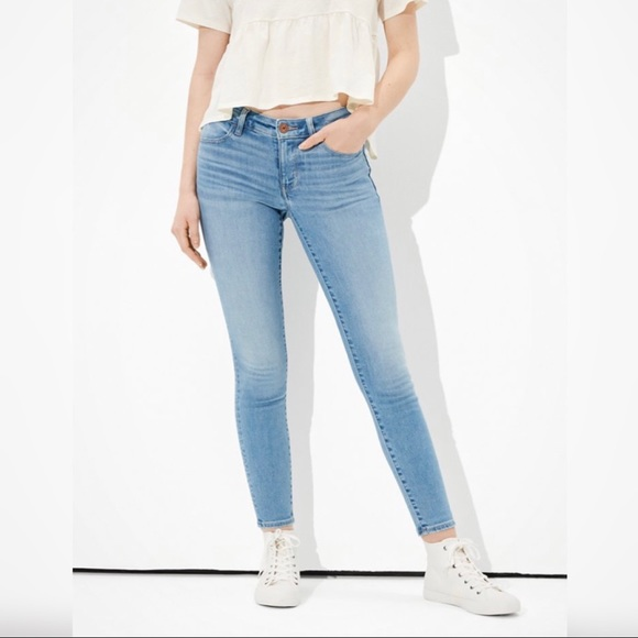 American eagle blue high waisted jeans